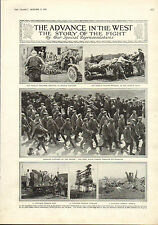 1915 WWI PRINT ~ GERMAN PRISONERS SOUTHAMPTON ~ FRENCH WOUNDED CAPTURED TRENCH