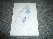 MARIE SANN signed Original Zeichnung + Autogramm 20x30 In Person MANGA Krähen