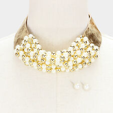 """46"""" gold cream ribbon tie choker collar pearl necklace 2"""" wide faux leather"""