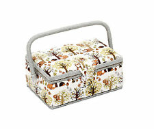 Hobby Gift Woodland Design White Rectangle Sewing Basket Box