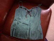 Monsoon dark green silk top vest UK size 8