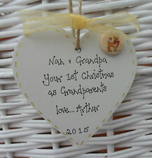BABY'S FIRST/1st CHRISTMAS TREE DECORATION FOR GRANDPARENTS personalised 8cm