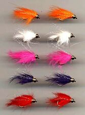 Trout Flies: Gold Head Mini Fur Flies x 10 short shank size 8 (code 121)