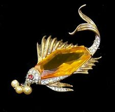 TRIFARI 'Alfred Philippe' STERLING Citrine and Pave Fish Faux Pearl Bubbles Pin