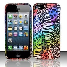 For iPhone 5 5S SE Rubberized HARD Protector Case Phone Cover Rainbow Safari