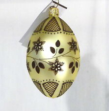 "John Toole Mouth-Blown Lace Egg Light Yellow Glass Ornament 3.5""L x 2""Dia."