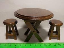 1:12 SCALA in legno pieghevole tavolo e sgabelli CASA DELLE BAMBOLE MOBILI IN MINIATURA (rotonda)
