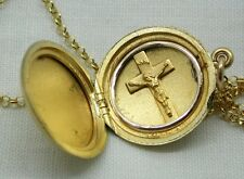 Vintage Exceptionally Nice Quality Gold Filled Locket With Crucifix Inside