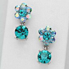 Silver and Blue Zircon Colored Flower Drop Earrings ( Austrian Crystal )
