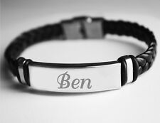 Name Bracelet BEN - Mens Leather Braided Engraved Bracelet - Fashion Identity