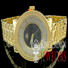 Diamond Maxx Watch Two Tone Yellow Gold Finish Real Diamond Metal Band Ice Out