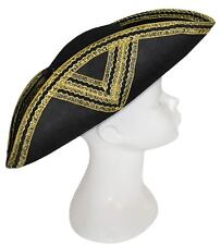 Adult Std. Black and Gold Tricorn Hat - Pirate Costumes
