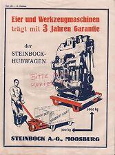 MOOSBURG, Werbung 1929, Steinbock AG Hubwagen Eier-Werkzeug-Maschinen