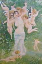 Antique Old Oil Painting Nude Female Woman Cherubs Putti Angels Gold Gilt Frame