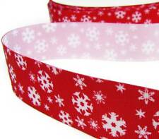 "5 Yards Christmas Red White Snowflake Grosgrain Ribbon 1 1/2""W"