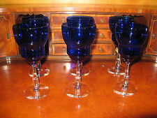 Set of 6 Cambridge Glass ROYAL COBALT BLUE  Wine Goblet/s W/ Art Deco Stem