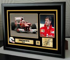 "Sebastian Vettel F1 Ferrari Ltd. Ed. Framed Canvas Print Signed.""Great Gift"""