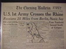 VINTAGE NEWSPAPER HEADLINE~WORLD WAR 2 US ARMY CROSSES RHINE NAZI GERMANY WWII~