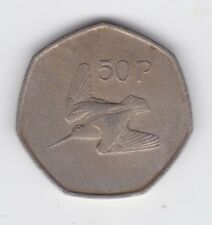 1975 Irish Ireland 50p Fifty Pence Eire Seven 7 Sided Coin Woodcock bird D-190
