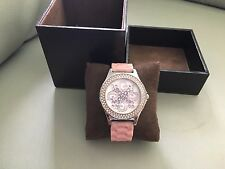 Guess Ladies' Round White Dial Pink Leather Strap Watch!