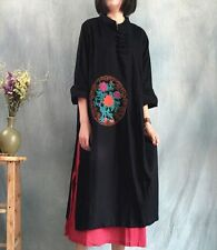 J63B Chinese Tradition Qipao Embroidery Double Layer High Slit Women's Dress