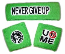 WWE AUTHENTIC JOHN CENA 3pc Neon Cotton Green Headband Wristbands Set