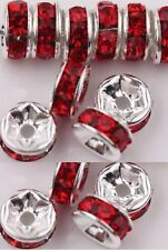 60 Silver plated red crystal spacer beads