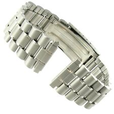 16-20mm T &C Stainless Steel Matte Silver Mens Deployment Buckle Watch Band