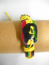 BLACK LEATHER RASTA RED GREEN YELLOW YOUNG BOB MARLEY YELLOW CORD TIES BRACELET