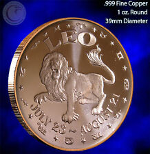 Leo Horoscope Collection 1 oz .999 Copper Round