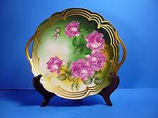 ANTIQUE (T&V) LIMOGES PLATE,5 HANDPAINTED ROSES,GOLD TRIM DECOR BY ARTIS ROBY