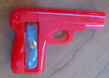 Vintage early 1950s plastic pencil sharpener, red pistol, gun, US Zone Germany