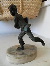 Vintage Antique Bronze SCULPTURE on Marble Oval Base BOY Running Carrying A Bird