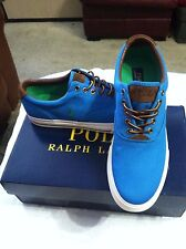 POLO RALPH LAUREN MENS NEW TURQUOISE CANVAS/SUEDE FASHION SNEAKERS SIZE: 10.5