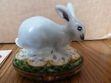 French Accents Peint Main Limoges Grey Bunny Rabbit 277/300