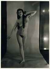 LONGHAIR NUDE WOMAN W sordomuti armpits/nude Donna in studio * VINTAGE 70s PHOTO