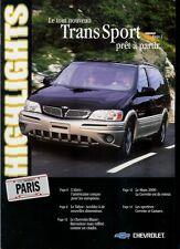 Y2K Year 2000 Paris Auto Show Brochure: Chevrolet Le Mans Corvette Tahoe Blazer