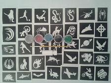 garçons x 20 tatouage ensemble pochoir pour tatouages paillettes + 5 couleurs