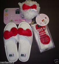 New Earth Therapeutics Hello Kitty 3 Pc Women's Slippers L/XL/Headband/Bath Puff
