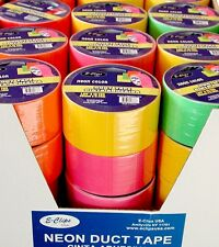 "48 rolls - Duct Tape ASSORTED 4 NEON  COLORS - 1.89"" (2"") x 10 yards"
