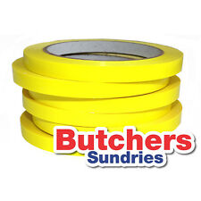 6 Rolls Of High Quality YELLOW PVC Neck Bag Sealing Tape / Fruit / Veg / Meat