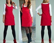 Schickes Cord Kleid Träger-Kleid Gr. 44 rot 954514 STRETCH Neue Damenmode