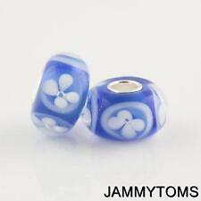 GENUINE SILVER BLUE FLOWERS MURANO GLASS LAMPWORK BEAD FOR CHARM BRACELET