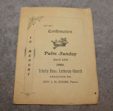 ANTIQUE LUTHERAN PALM SUNDAY CONFIRMATION MEMORY BOOK 1908