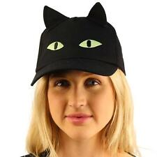 Halloween Black Cat Ears Scary Eyes Cotton Baseball Adjust Ball Cap Hat Black