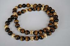 Vintage 26 inch Tigers Eye 17 Big 14K Gold Beads Necklace, Bracelet 111 grams