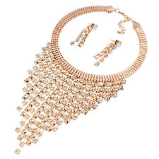 Fashion Womens Crystal Gold Charms Chain Statement Bib Necklace Choker Chunky