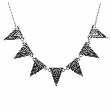 Silver Tone Aztec Style Geometric Bunting Triangle Statement Necklace