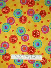 Abstract Fabric - Bubble Trouble Bright Circles Yellow - Studio E Cotton YARD