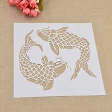 DIY Fish Pattern Template Paper Card Wall Painting Stencil Home Decor Handmade